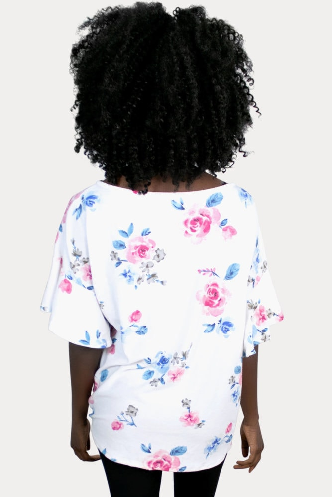 white floral maternity top