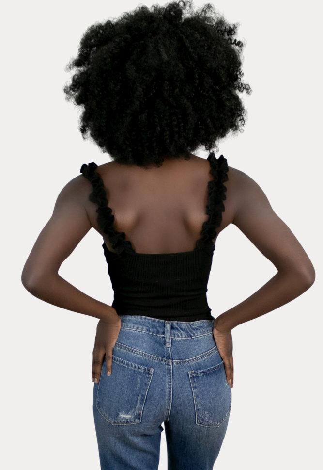 black sleeveless bodysuit