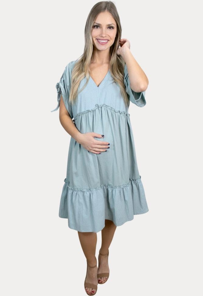 striped babydoll maternity dress