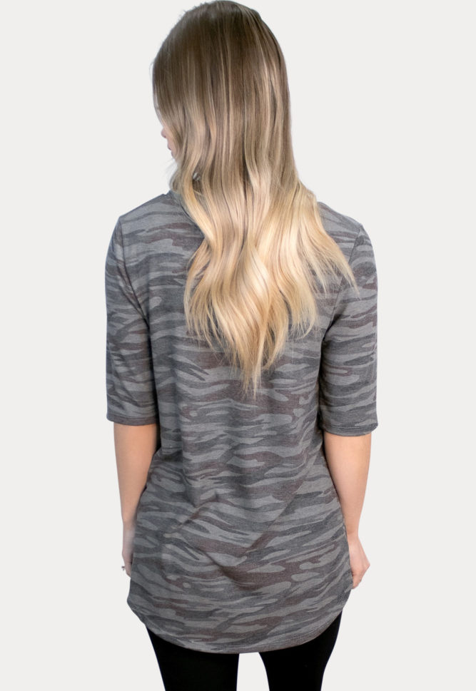 grey camo maternity top