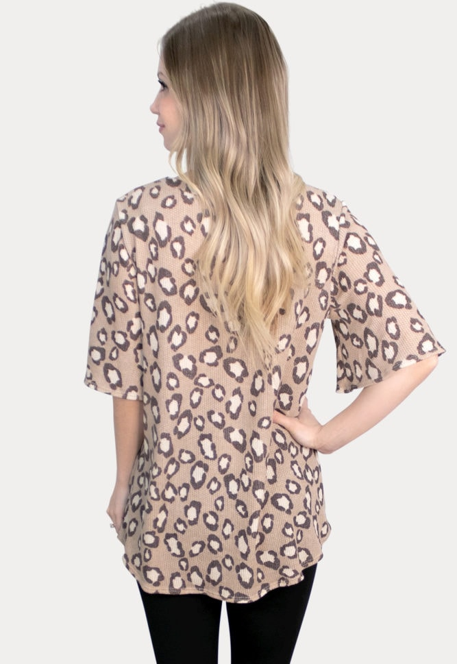 short sleeve leopard maternity top
