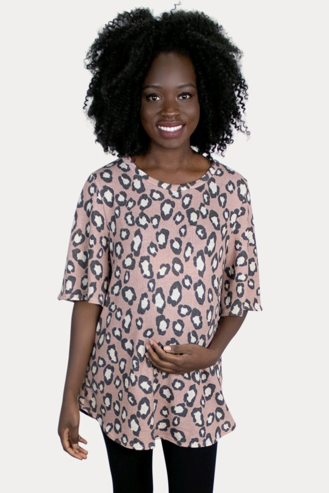 pink leopard maternity top