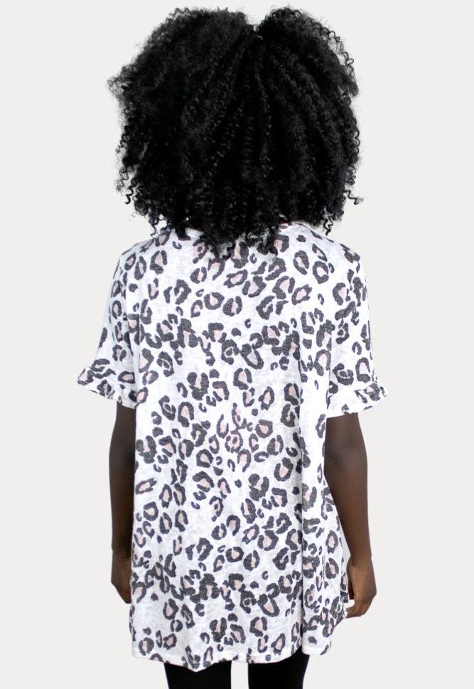 white leopard maternity top