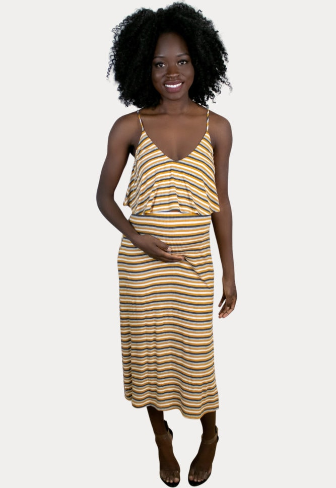 multi striped maternity dress