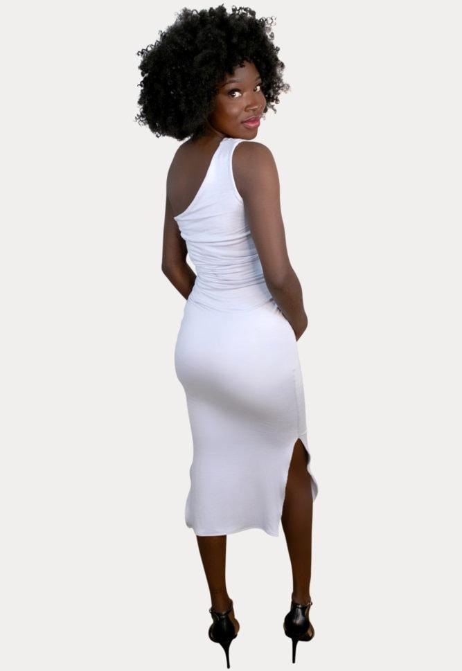 one-shoulder maternity dress