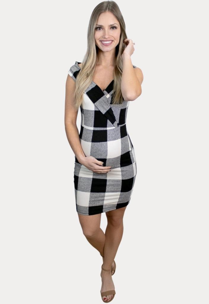 sleeveless plaid maternity dress