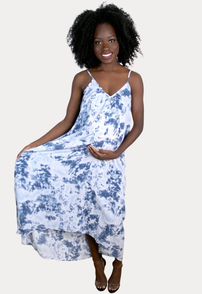 sleeveless tie dye maternity dress