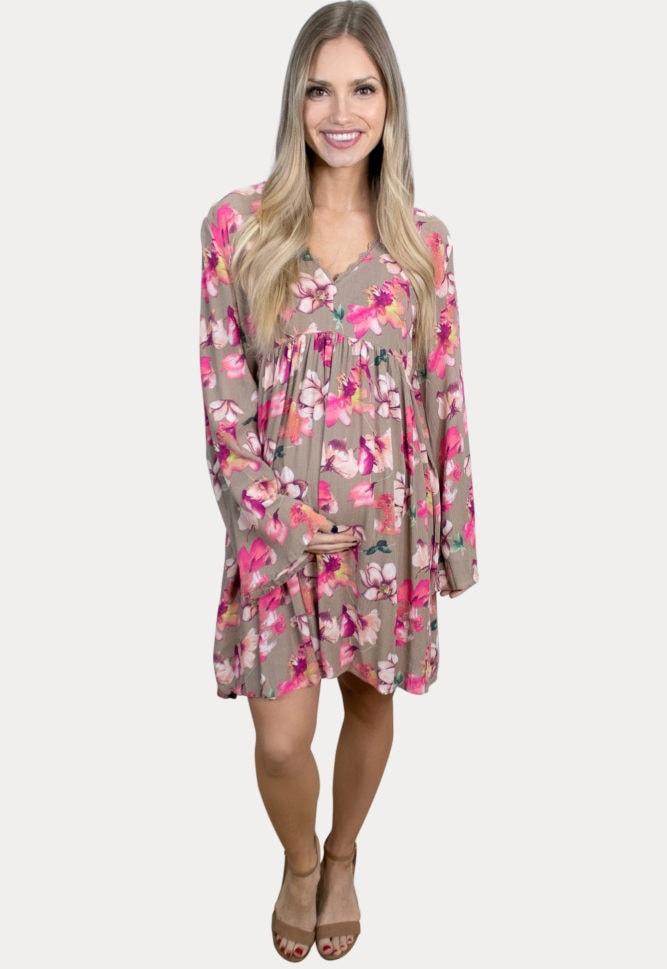 v-neck floral pregnancy dress