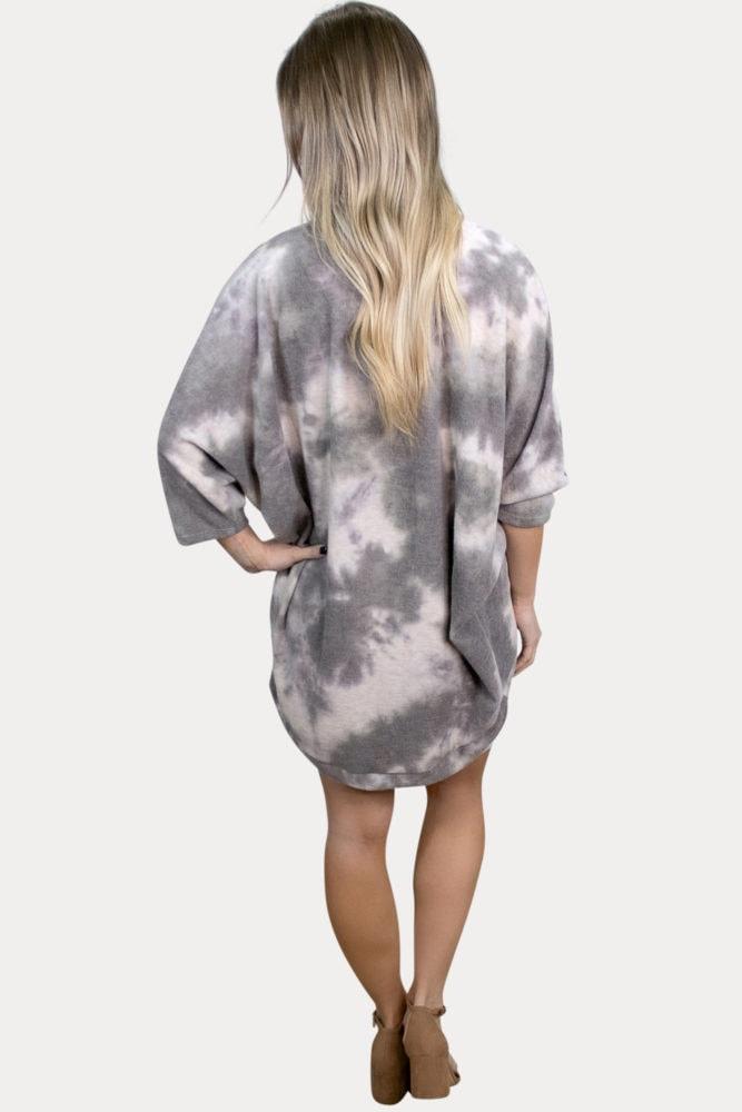 grey tie dye maternity cardigan