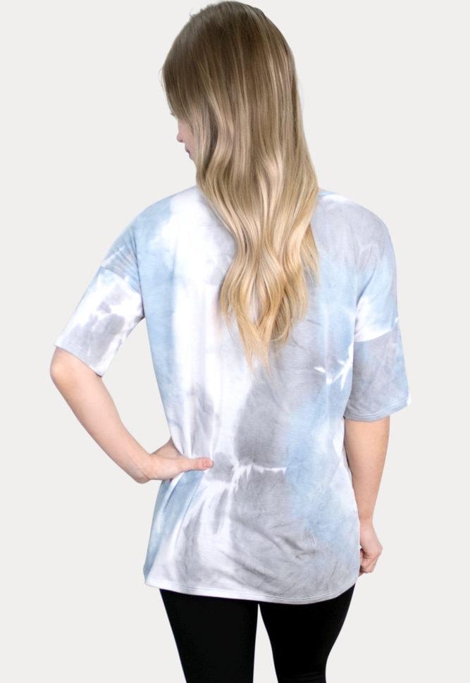 blue tie dye maternity top