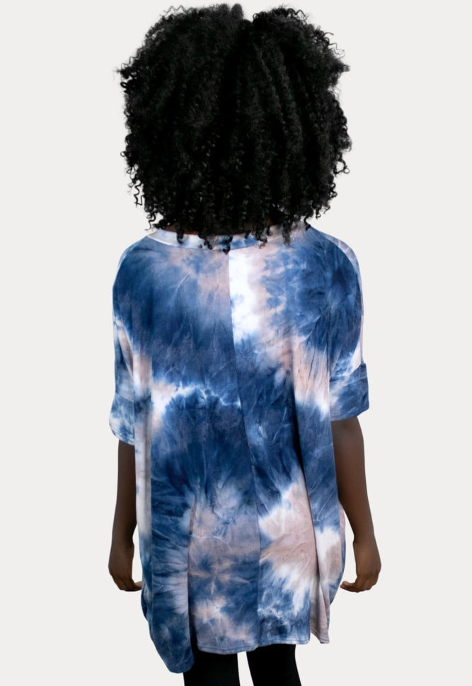 navy tie dye maternity top
