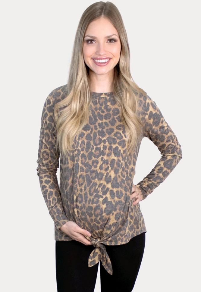 tie front leopard maternity top