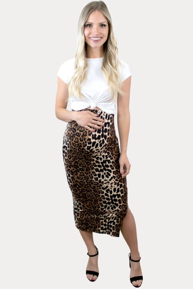leopard midi maternity skirt