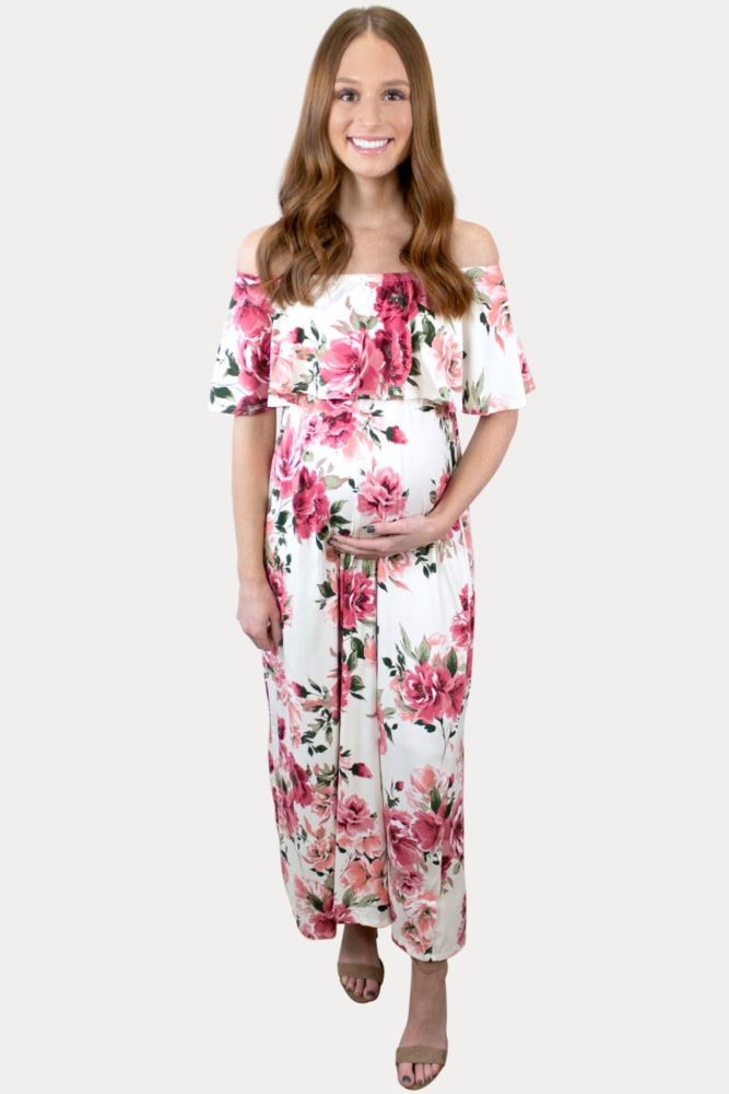 pink floral pregnancy maxi