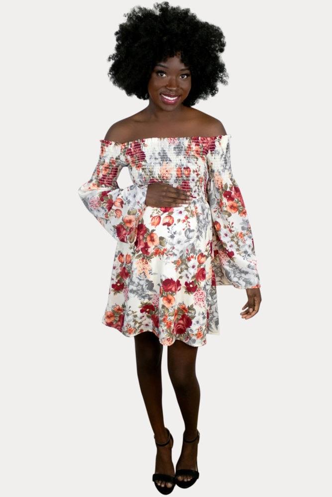 floral smocked pregnancy dress
