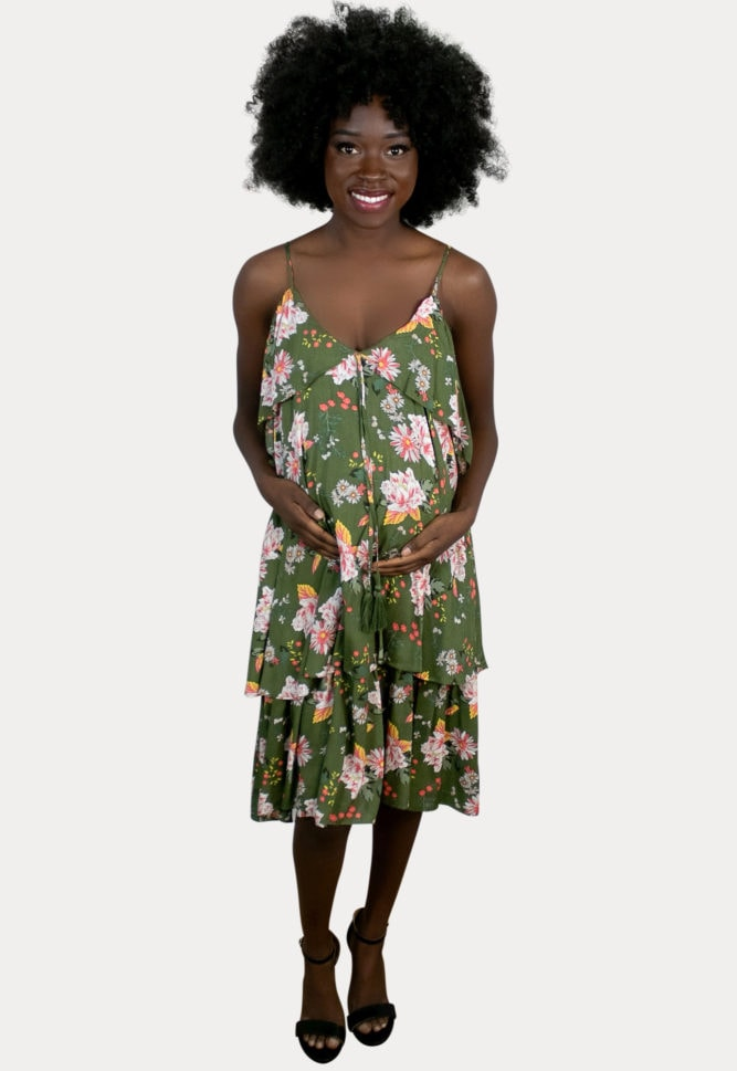 floral green maternity dress