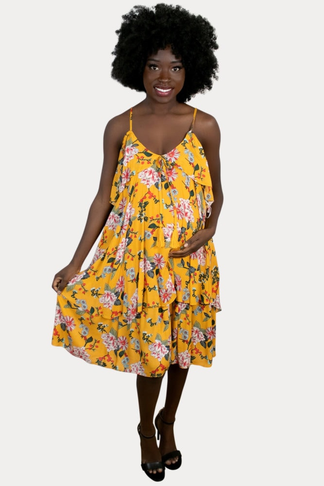 yellow floral maternity dress