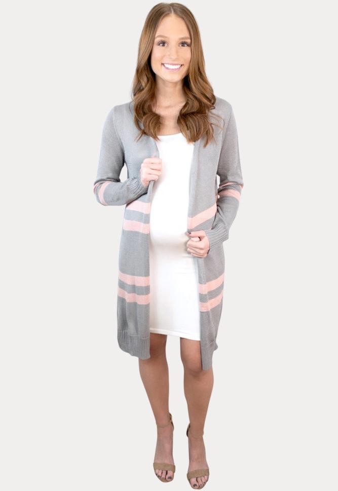 grey striped maternity cardigan