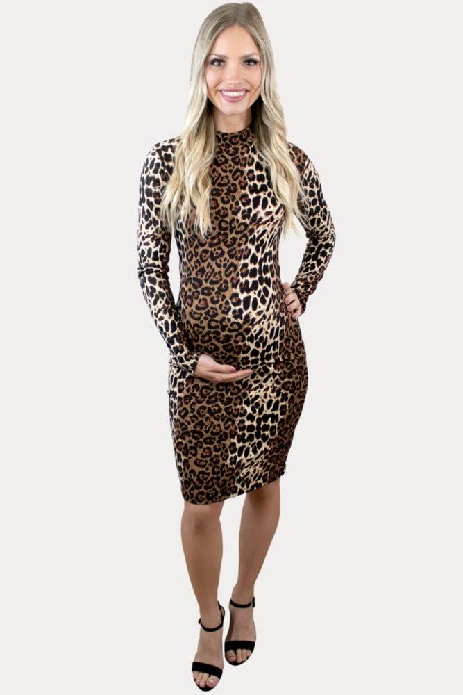 mock neck leopard maternity dress