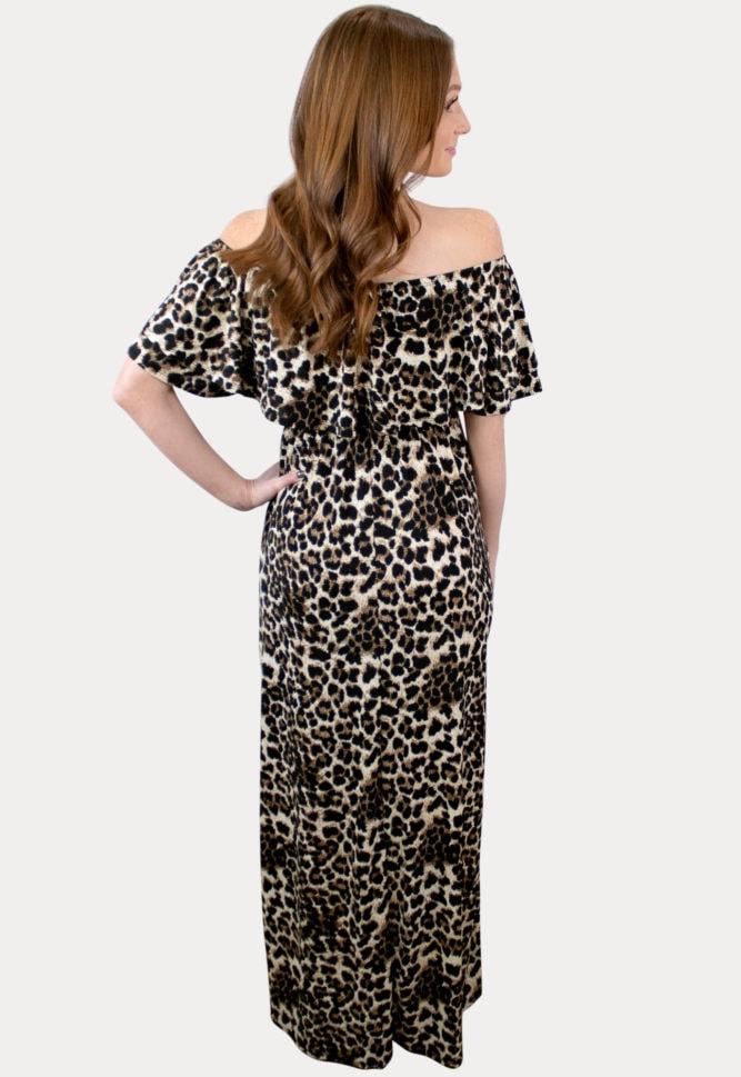 leopard maternity maxi dress
