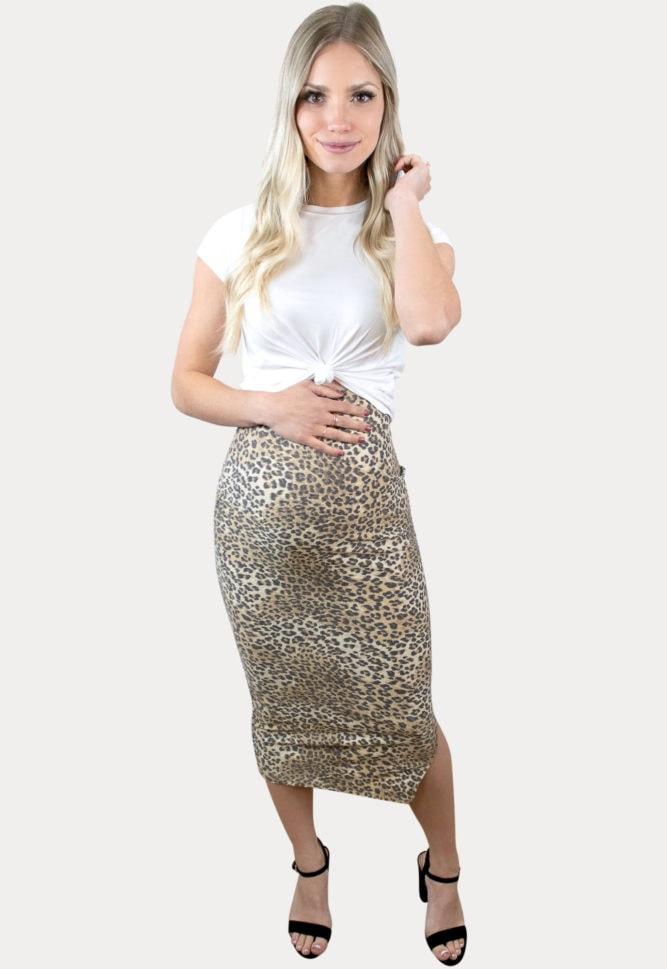 leopard maternity skirt