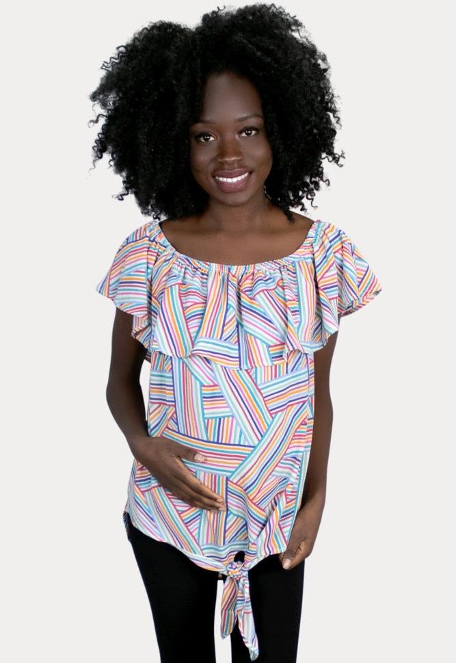 multi striped maternity top