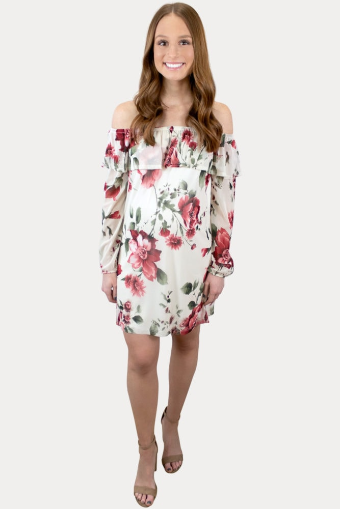 floral long sleeve maternity dress