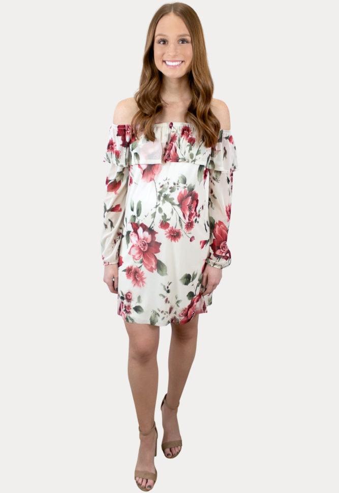 floral long sleeve maternity dress