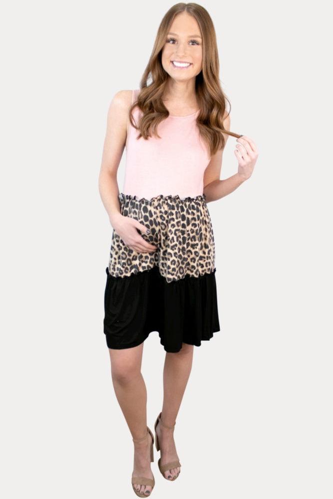 sleeveless leopard pregnancy dress
