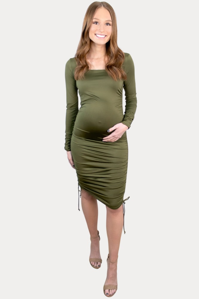long sleeve ruched pregnancy dress