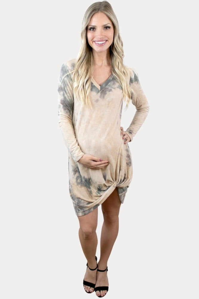 knot front maternity dress