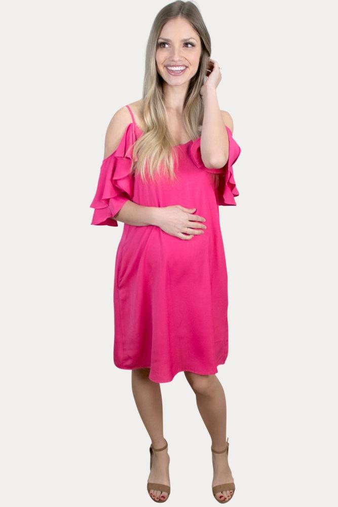 hot pink maternity dress