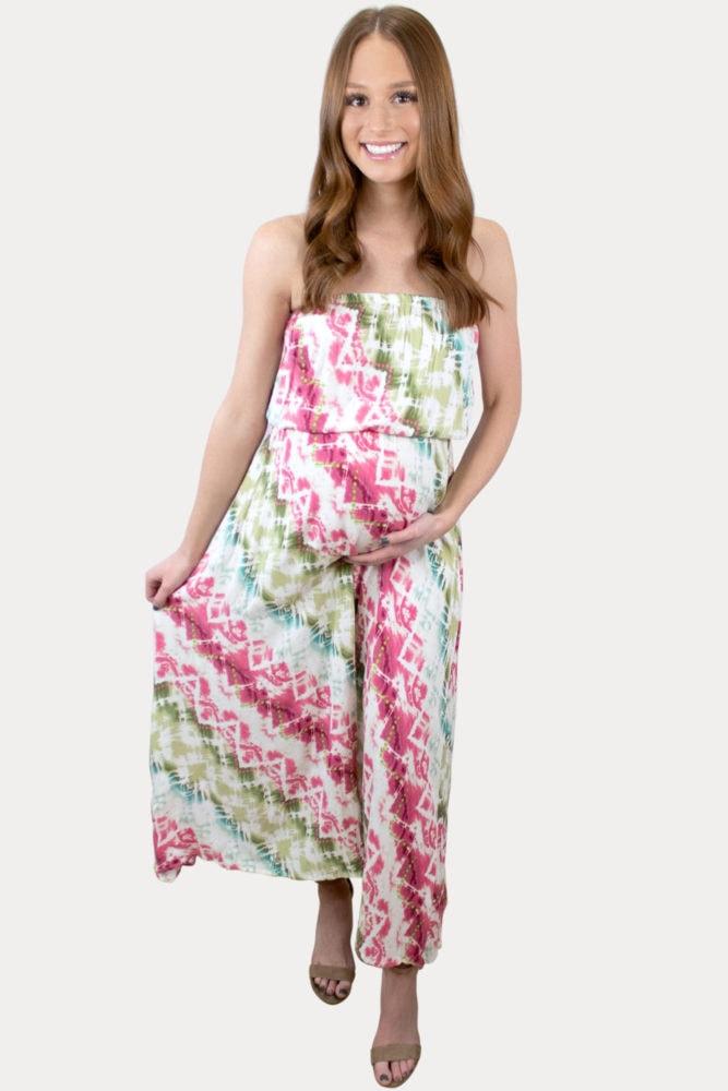 strapless tie dye maternity dress