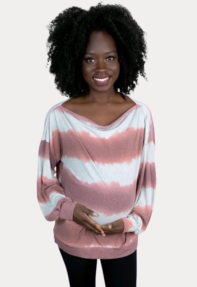 striped tie dye maternity top