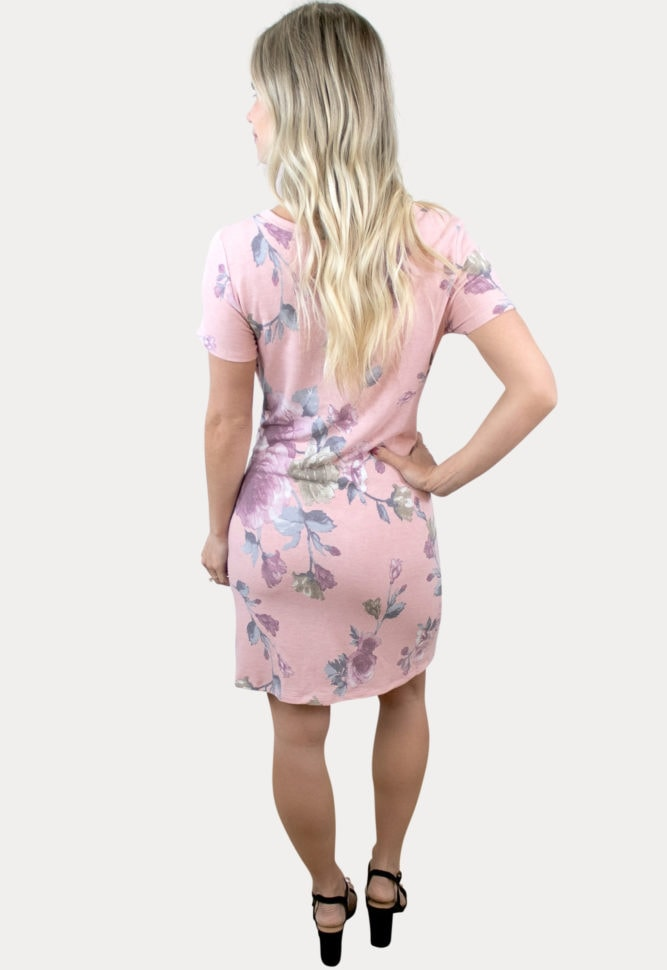 pink tie front maternity dress
