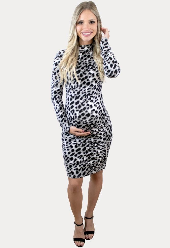 white leopard pregnancy dress