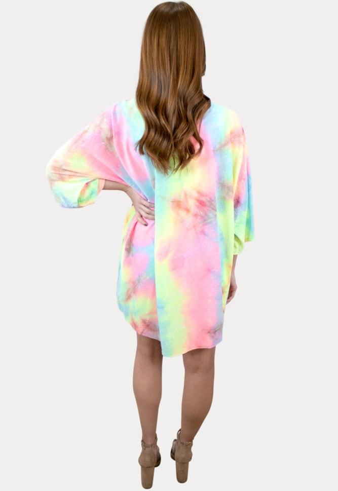 bright tie dye maternity cardigan