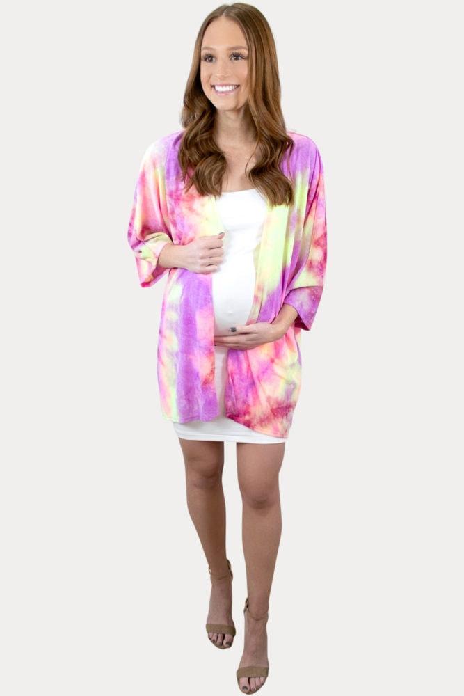 pink tie dye pregnancy cardigan