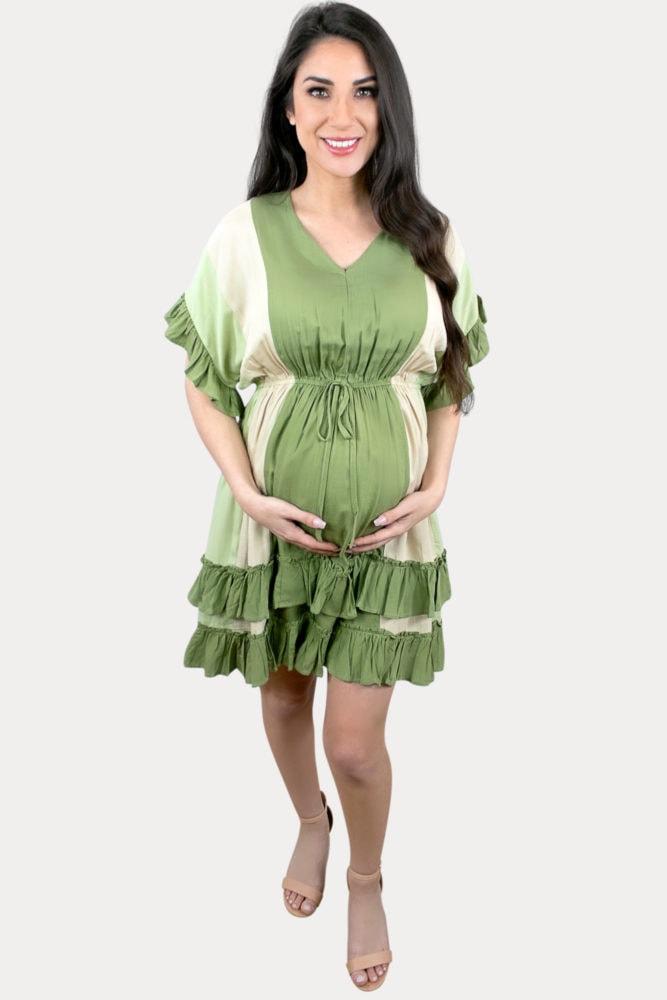 babydoll stripe maternity dress