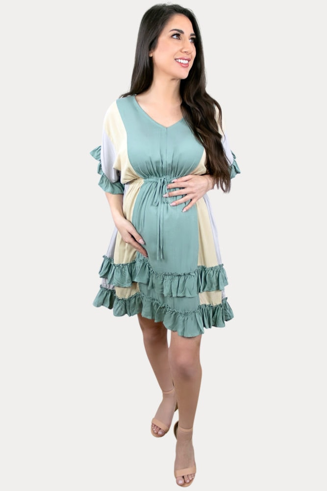 babydoll stripe pregnancy dress