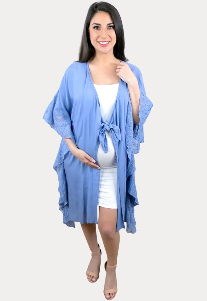 blue pregnancy cardigan