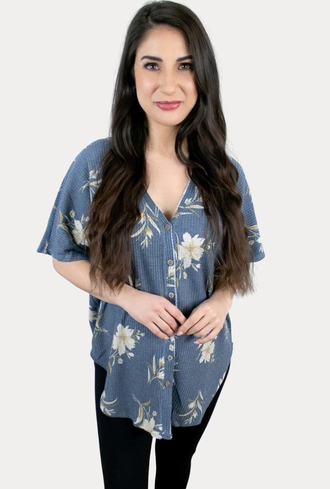 blue floral pregnancy tee