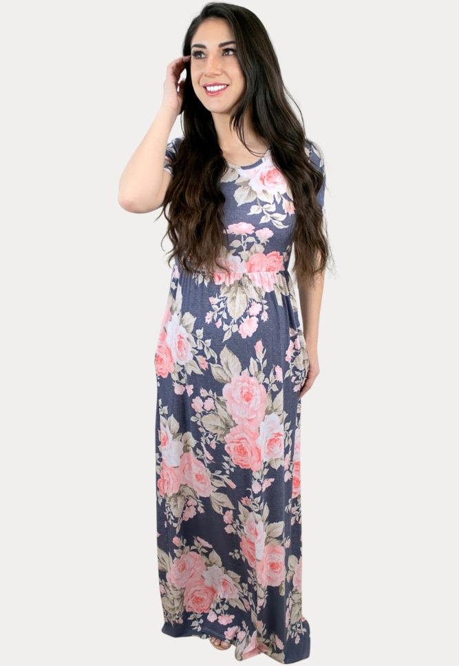 grey floral pregnancy maxi