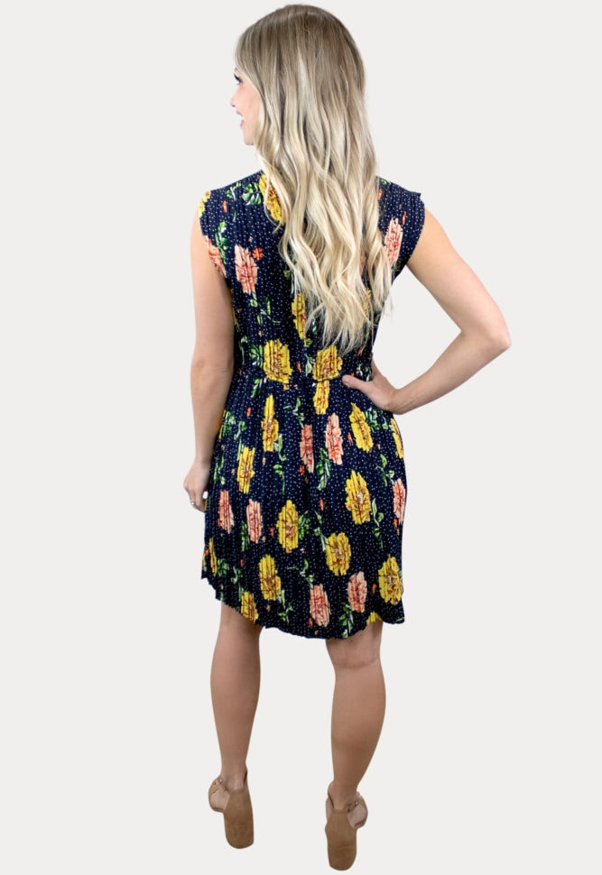 sleeveless floral pregnancy dress