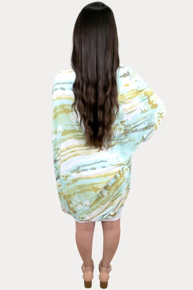 green tie dye maternity cardigan
