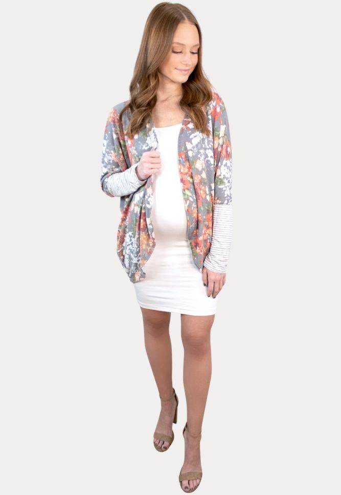 grey floral maternity cardigan