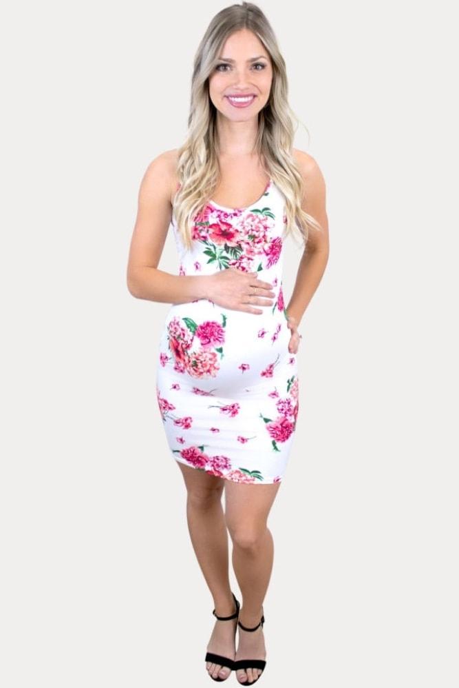 floral white maternity dress