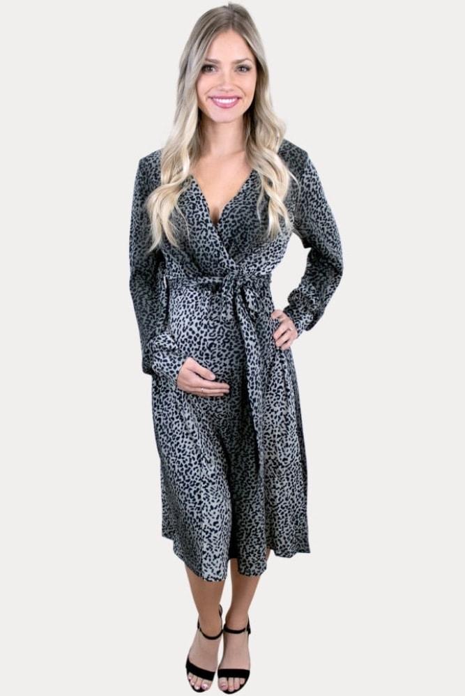 grey leopard maternity dress