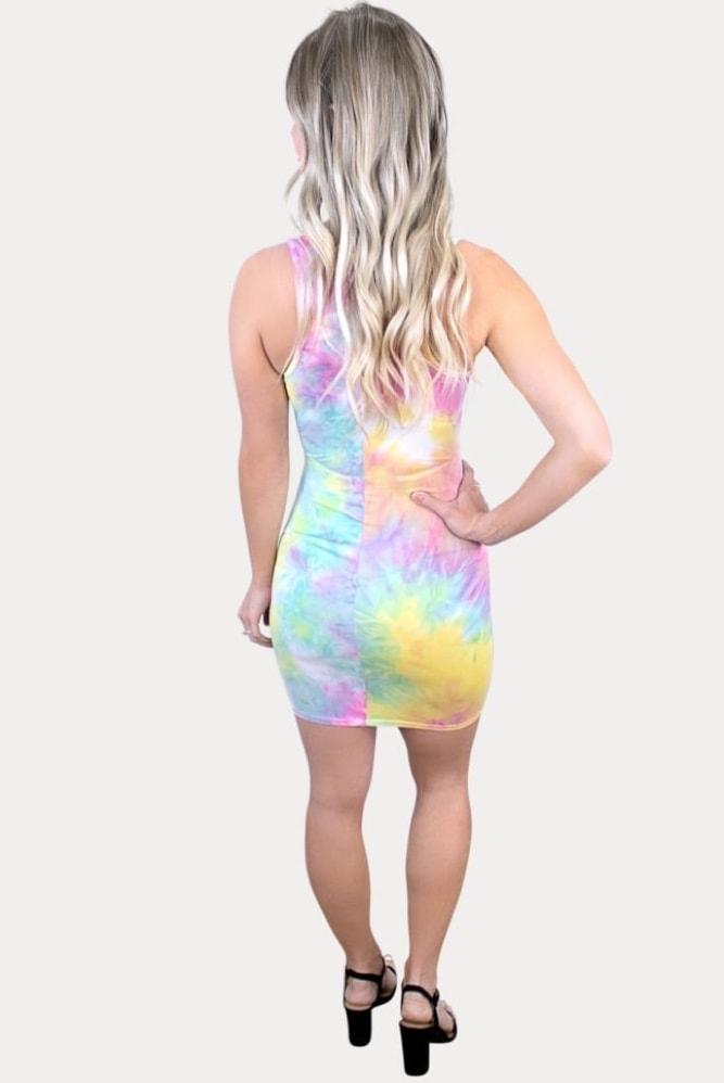 tie dye maternity bodycon dress