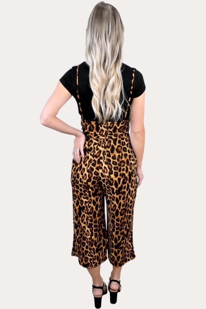 leopard maternity coveralls
